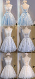 Popular Lace Tulle Sleeveless Cute Homecoming Dresses, Cheap Short Prom Dresses, HD067