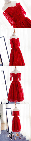 Popular Red Cheap Lace Sweetheart Half Sleeve A-line Lace Up Homecoming Dresses, HD042
