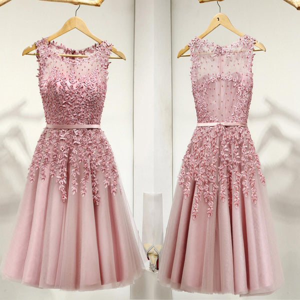 Dusty Pink Appliques Beaded See Through A-line Tulle Zip Up Homecoming Dresses, HD043