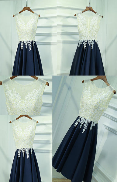 Round Neck Sleeveless Ivory Lace Beaded Navy Satin Zip Up Homecoming Dresses, HD041
