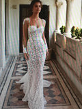 Sexy Meramid White Lace Wedding Dresses,Cheap Wedding Dresses, WDY0290