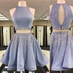 2 Pieces Satin Homecoming Dresses, Rhinestone Beaded Homecoming Dresses, Homecoming Dresses, HD077
