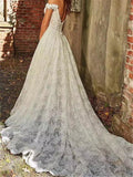 Off-shoulder Lace Backless Zipper Closure Princess Style Wedding Dresses With Chaple Trailing, WDY0310