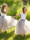 Two-pieces Leotard Scoop Short-sleeve Tulle Hem Nifty Kids Ball Gown, Flower Girl Dresses with Rose, FG092