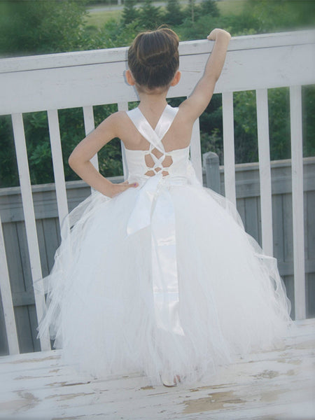 Square-neck Criss-cross Straps Lace-up Back Princess Style Cute Nifty Ball Gown, Flower Girl Dresses with Rose, FG091