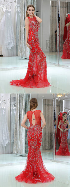 Illusion Tulle Open Back Zipper Closure Applique Mermaid Prom Dresse,PDY0660
