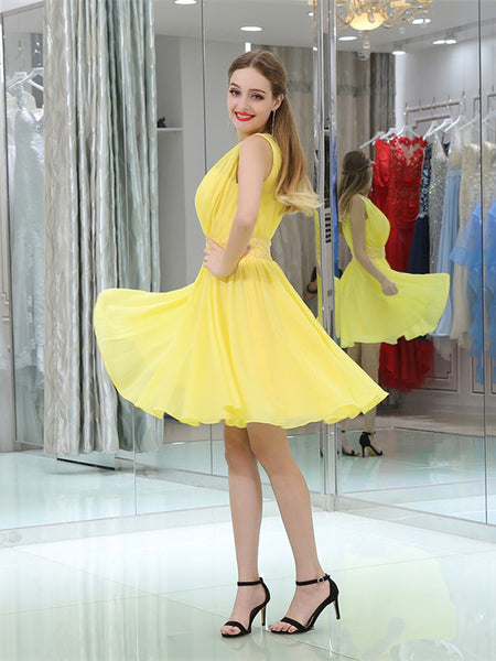 Jewel Sleeveless Pleats Yellow Chiffon Applique Homecoming Dresses, HD080