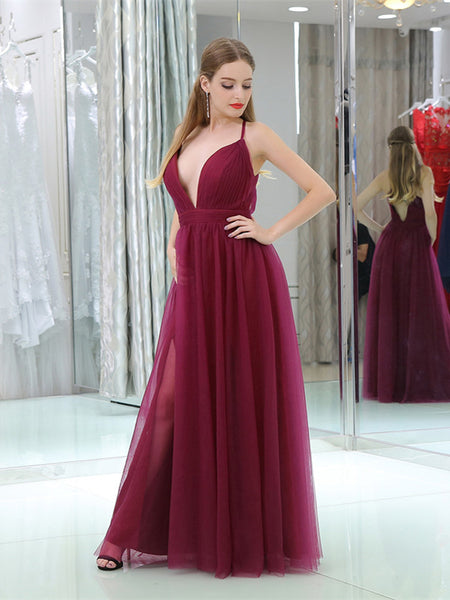 Deep-V Criss-Cross Back Burgundy Zipper Closure Tulle Side Slid Bridesmaid Dresses,WGY0402