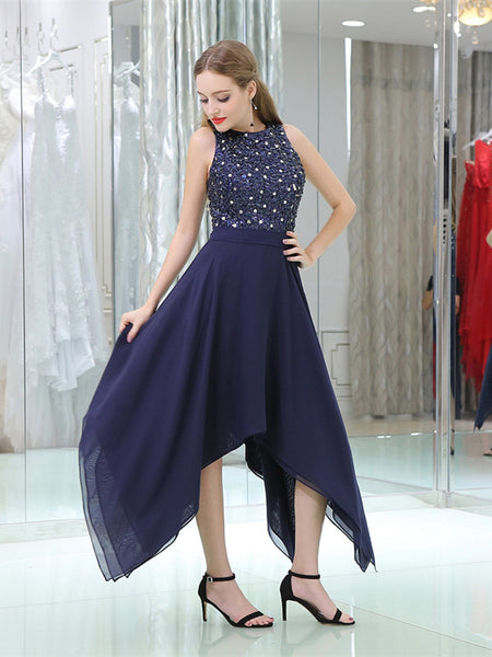 Halter Applique Zipper Closure Asymmetrical Hem Chiffon Bridesmaid Dresses,WGY0403