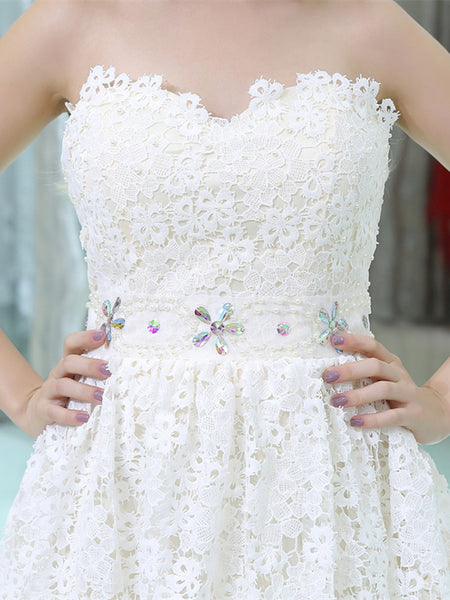 Sweetheart Applique Zipper Closure Lace Homecoming Dresses, HD082