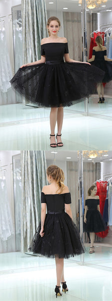 Off-shoulder Tulle Pleats Zipper Closure Princess Dress Homecoming Dresses, HD084