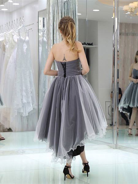 Sweetheart Pleats Tulle Lace up Zipper Closure Short Front Long Back Homecoming Dresses, HD085