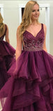 V-neck Beaded Long Prom Dresses, Popular Ball Gown, Prom Dresses, BG0447