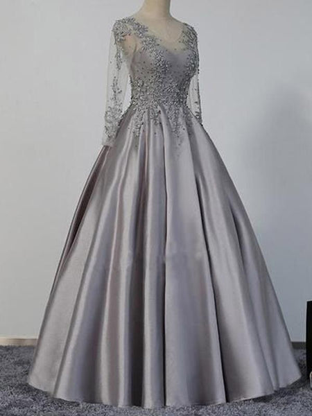Long Sleeves Prom Dresses, Grey Prom Dresses, Satin Prom Dresses, Beaded Prom Dresses, BG0431