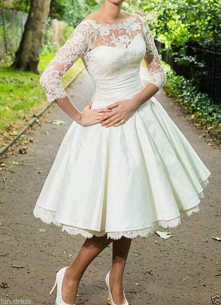 Cheap Long Sleeve Lace Illusion Short Wedding Dresses Online, WD333