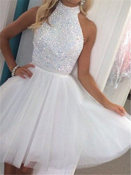 Halter A-line Sequin Tulle Knee-length Zipper Closure Open-back Ball Gown Homecoming Dresses, HD096