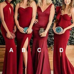 Mismatched Bridesmaid Dresses, Red Bridesmaid Dresses, Cheap Bridesmaid Dresses, BG0438