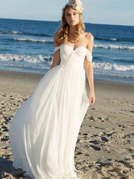 Off Shoulder Unique Casual Cheap Beach Wedding Dresses, WD312