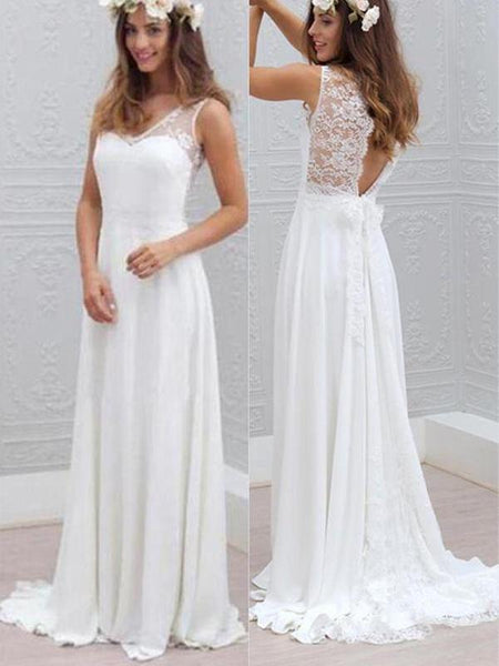 V Neck Sexy Open Back Long Cheap Wedding Dresses Online, WD331