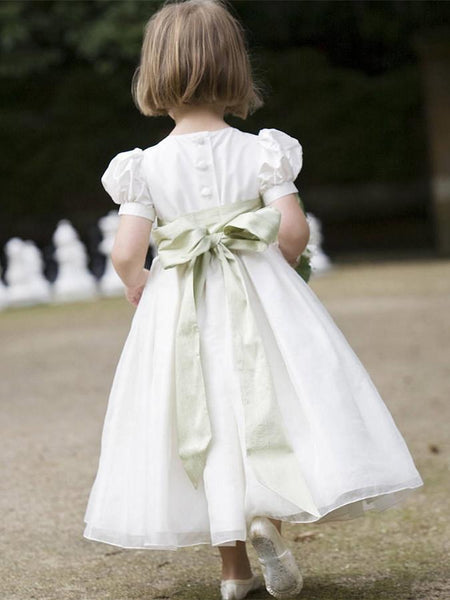Lovely High Neck Princess Ball Gown with Sash, Pegeant Flower Girl Dresses with Big Bow , TYP0303