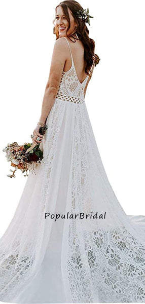 Pretty lace a-line sleeveless spaghetti straps v-back long wedding dress PH002