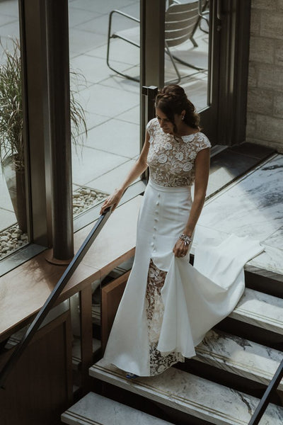 Beautiful lace a-line cap sleeves open back long wedding dress PH005