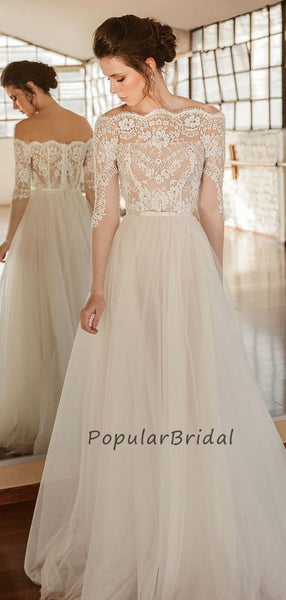 Elegant lace a-line half sleeves long wedding dress,cheap wedding dress PH015