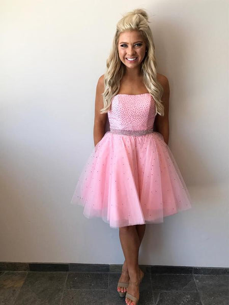 Strapless Beaded Tulle Pink Short Homecoming Dresses, EME088
