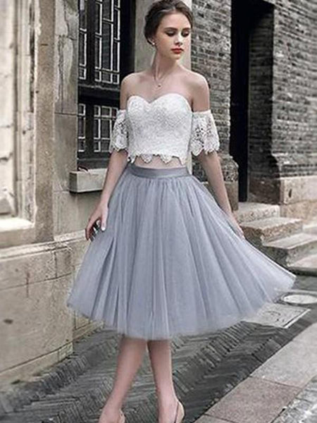 2019 Latest Lace top Off-shoulder Tulle Hem Princess Gown Elegant Homecoming Dresses, HD101