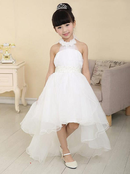 Halter A-line Waist Front Short Long Back Cute Princess Style Flower Girl Dresses With Bow, FG085