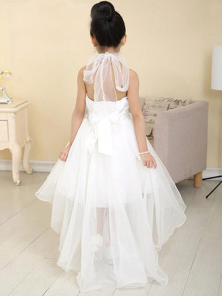 Halter A-line Waist Front Short Long Back Cute Princess Style Flower Girl Dresses With Bow, FG005