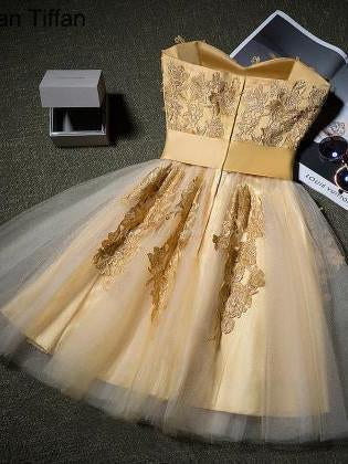 Strapless Applique Tulle Royal Ball Dress With Sash, Elegant Homcoming Dresses with Bow, SEME214