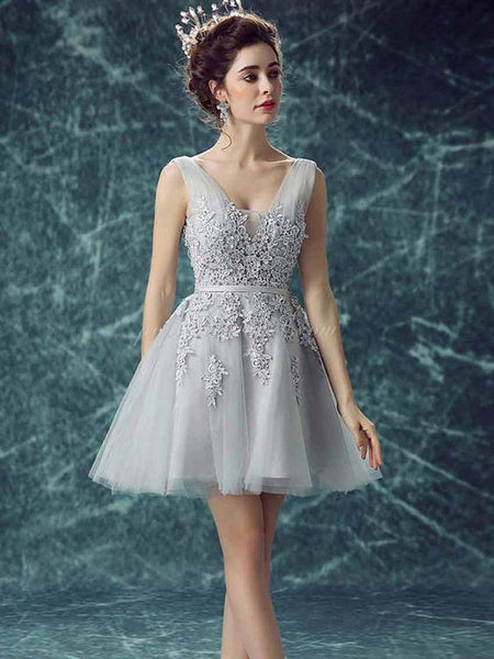 A-line V-neck Applique Ball Dress, Elegant Lace-up Back Homcoming Dresses, SEME215
