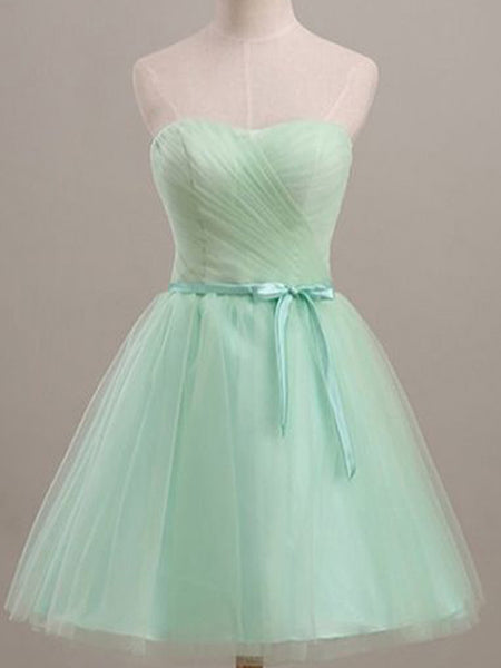 Sweetheart Tube Top with Sash Tulle Dress, A-line Princess Tulle Short Homecoming Dresses, EME095