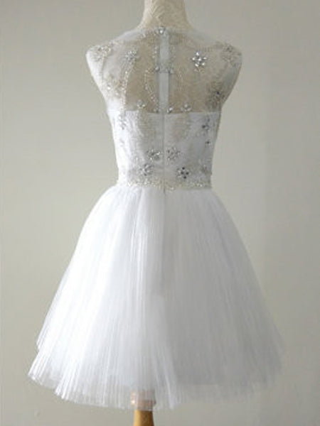See-through Rhinstone Ball Dress, A-line Princess Short Homecoming Dresses, EME092