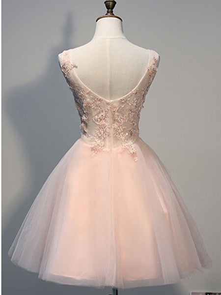 V-neck Applique Beaded Ball Dress, A-line Princess Tulle Homecoming Dresses, EME090