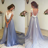 White Lace Top Short Sleeve Backless Long A-line Chiffon Prom Dresses, BG0025