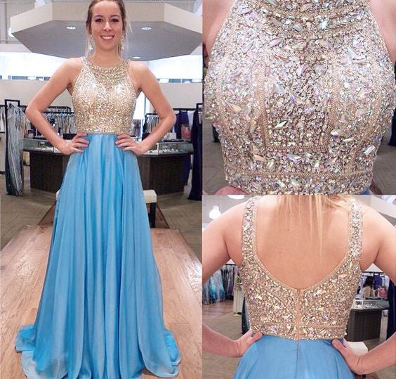 Round Neck Sparkle Rhinestone Beaded Long A-line Blue Chiffon Prom Dresses, BG0333