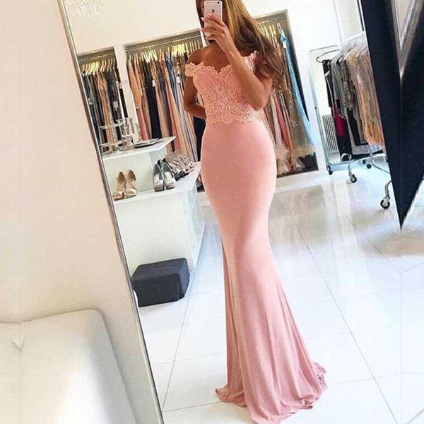 Newest Off Shoulder Lace Beaded Long Mermaid Soft Satin Prom Bridesmaid Dresses, BG0020