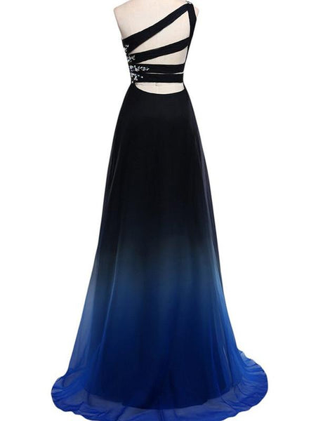One-shoulder Chiffon Beaded Pleats Open-back with Straps Gradient Evening Gown, Prom Dresse,PDY0674