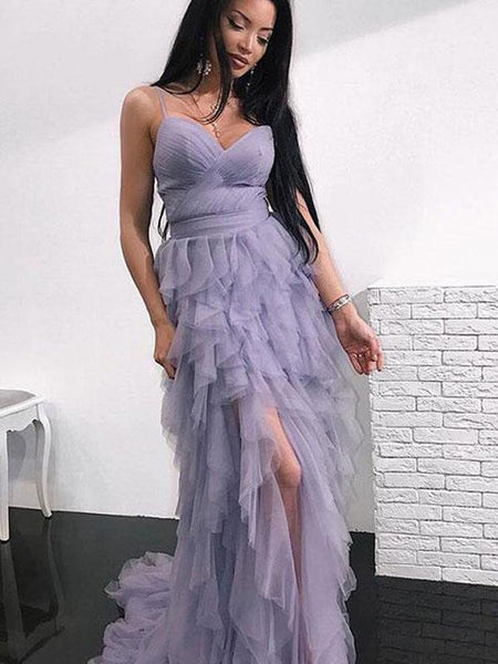 Spaghetti Hi-low Dusty Purple Prom Dresses, Unique Long Prom Dresses, BG0446