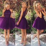 Sexy Halter Open Back Purple Popular Beaded Tulle Homecoming Dresses, HD052