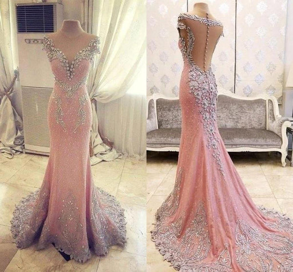 Elegant Pink See Through Lace Rhinestone Gorgeous Wedding Prom Dresses, BG0021