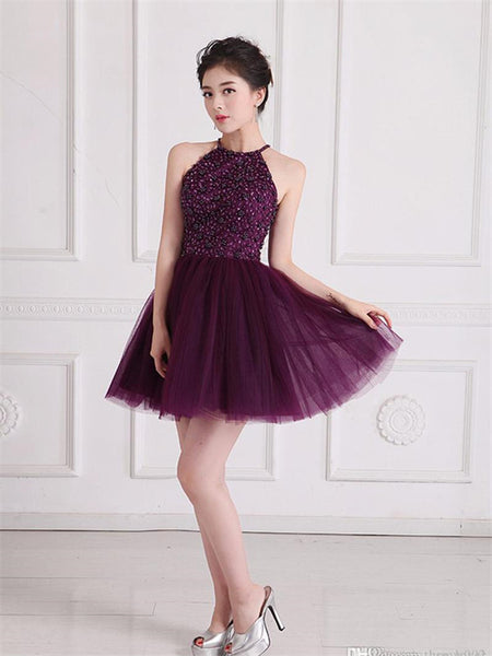 Halter Sequin Beading Open Back Zipper Closure Tulle Mini Homecoming Dresses, HD092