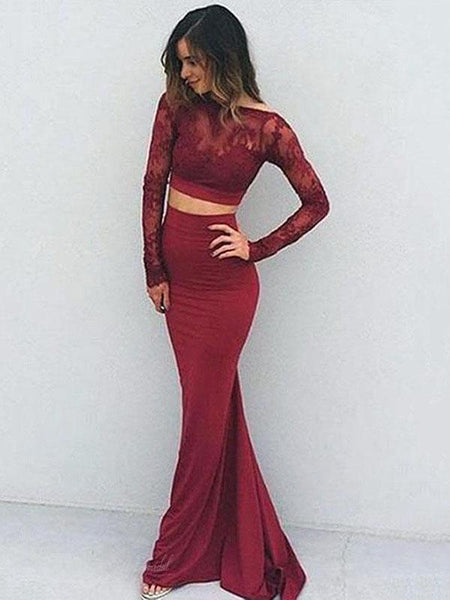 Two Pieces Long Sleeve Maroon Lace Backless Jersey Long Prom Dresses, BG0246