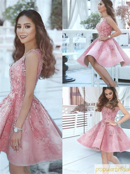 V-neck Breading Pleats Zipper Closure Knee-length Cute Pink Crystal Homecoming Dresses, HD088