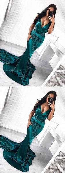 Deep V-neck Sexy Prom Dresses, Mermaid Prom Dresses, Shiny Prom Dresses, Prom Dresses, BG0412