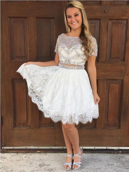 Cap Sleeves Rhinestone Two Pieces Short Homecoming Dresses, EME080