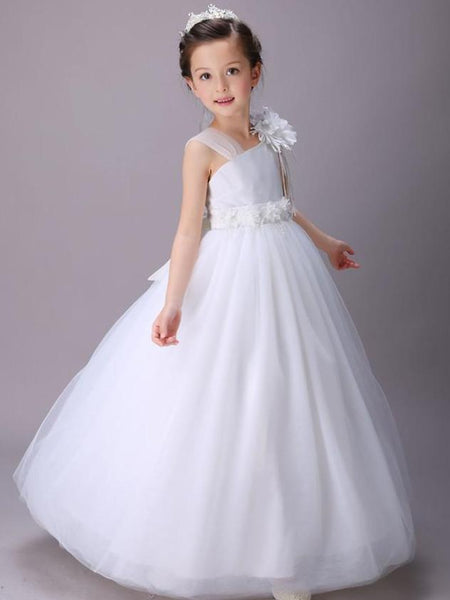 Asymmetric Handmake Flower Zipper Closure Tulle with Bow Floor-length Flower Girl Dresses , TYP0276