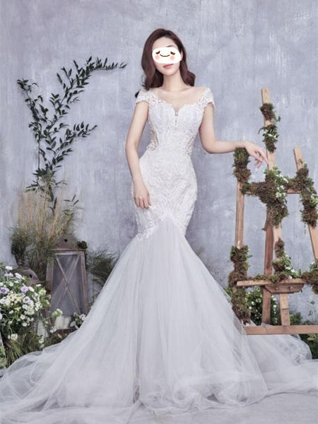 Off-shoulder Applique Satin Tulle Mermaid Princess Style Elegant Wedding Dresses, WDY0316